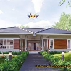 บ้านพักตากอากาศ:  บ้านเดี่ยว โดย แบบบ้านออกแบบบ้านเชียงใหม่,