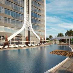 Lotus Mimarlık/Architecture – Ortadoğu Hastanesi/Konut Projesi:  tarz Bahçe havuzu