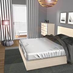 Ansicht 3-Zimmer Wohnung:  Kleines Schlafzimmer von Der Schlüssel zum Glück - Interior Design