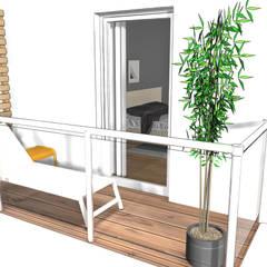 Ansicht 3-Zimmer Wohnung:  Balkon von Der Schlüssel zum Glück - Innenarchitektur