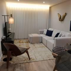 Perspectiva Sala de Estar: Salas de estar  por Alma Braguesa Furniture