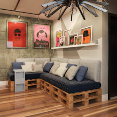 غرفة المعيشة تنفيذ Fiorino + Sandhas Arquitetos, صناعي