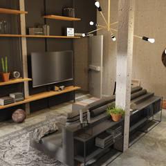 Industrieloft:  Wohnzimmer von Der Schlüssel zum Glück - Interior Design