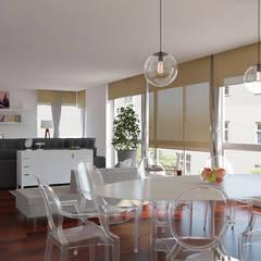 Sala Integrada de 3 ambientes: Salas de jantar  por EasyDeco Decoração Online