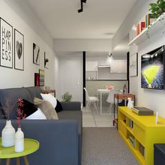 Sala Integrada Moderna Minimalista: Salas de estar  por EasyDeco Decoração Online