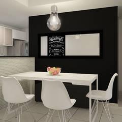 Sala Integrada Moderna Minimalista: Salas de jantar  por EasyDeco Decoração Online