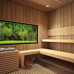 Sauna by Taller 3M Arquitectura & Construcción, Eclectic Wood Wood effect