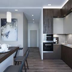 """Минималистичная квартира-студия """"ЖК Ясный"""": Маленькие кухни в . Автор – VB-Design"""