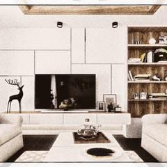 تصميم ريسيبشن بشقة في كومباوند:  غرفة المعيشة تنفيذ KOSOUR INTERIORS, بحر أبيض متوسط