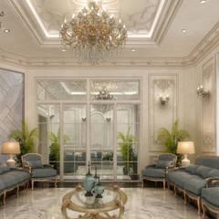 تصميم لديوانية فيلا بدولة الكويت :  غرفة المعيشة تنفيذ KOSOUR INTERIORS