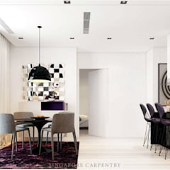 French contemporary style at Duxrton:  Living room by Singapore Carpentry Interior Design Pte Ltd