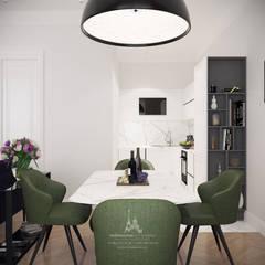 Дизайн кухни-гостиной в современном стиле в ЖК «Грин Парк»: Столовые комнаты в . Автор – Архитектурное бюро «Парижские интерьеры»