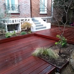Terrasse en massaranduba 35m2: Jardin de style  par JARDIN JAPONAIS, Moderne Bois Effet bois