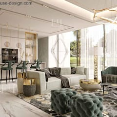 Modern interior design for a luxury house in Dubai:  Living room by Fancy House Design