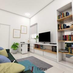 Interior Design TR Apartment:  Ruang Keluarga by Tigha Atelier