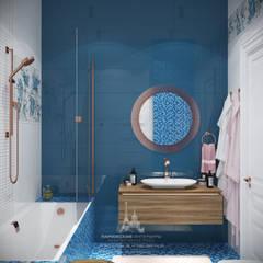 Яркие нотки в классической партитуре: интерьер 3-комнатной квартиры в ЖК «Наследие»: Ванные комнаты в . Автор – Архитектурное бюро «Парижские интерьеры»