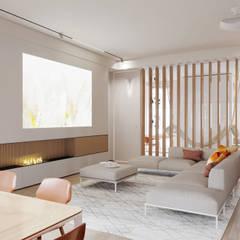Апартаменты Latten Light: Гостиная в . Автор – Suiten7, Лофт Медь / Бронза / Латунь