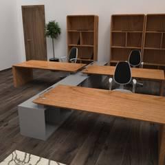 Office Porto Espaços de trabalho minimalistas por Craft Dream Productions Minimalista Madeira maciça Multicolor