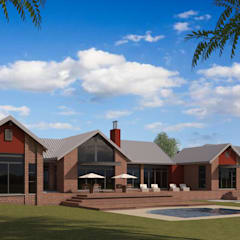 Residential Design Blue Saddle Ranches:  Country house by Red Square Architectural Studio, Country Bricks