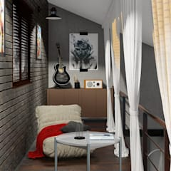 Кухня-гостиная-столовая с мансардой для отдыха: Медиа комнаты в . Автор – ТруАрт