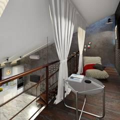 Кухня-гостиная-столовая с мансардой для отдыха: Лестницы в . Автор – ТруАрт