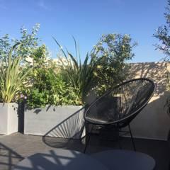 Aménagement paysager d'une terrasse à Neuilly-sur-Seine...: Terrasse de style  par L'Aurey Des Jardins