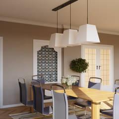 Diseño interior de un salón y comedor: Comedores de estilo  de Isabel Gomez Interiors