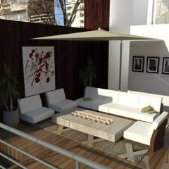 Estar terraza segundo nivel: Terrazas de estilo  por ROQA.7 ARQUITECTOS