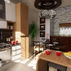 Vivienda bifamiliar GC: Cocinas pequeñas de estilo  por ROQA.7 ARQUITECTOS,