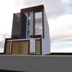 Fachada 2: Casas multifamiliares de estilo  por ROQA.7 ARQUITECTOS