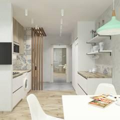 Однокомнатная квартира в скандинавском стиле: Маленькие кухни в . Автор – ARTWAY центр профессиональных дизайнеров и строителей