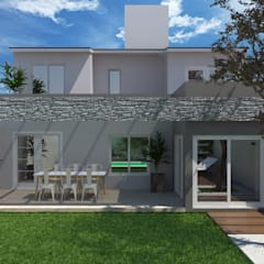 FACHADA POSTERIOR: Casas de estilo  por VI Arquitectura & Dis. Interior