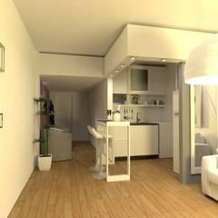 Interiorismo de Monoambiente en Recoleta por 3G Arquimundo: Cocinas de estilo  por Arquimundo 3g - Diseño de Interiores - Ciudad de Buenos Aires