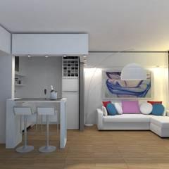 Interiorismo de Monoambiente en Recoleta por 3G Arquimundo: Livings de estilo  por Arquimundo 3g - Diseño de Interiores - Ciudad de Buenos Aires,Moderno