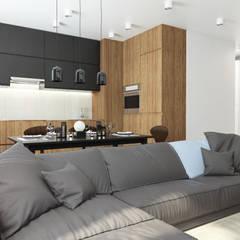 Квартира 75 м2 в стиле минимализм : Гостиная в . Автор – Дизайн Студия Katushhha