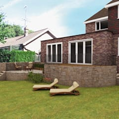 Rear extension:  Detached home by STAAC, Classic Bricks