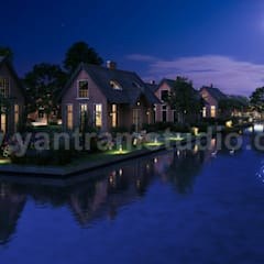 Romantic Night View of Waterside Villa 3D Exterior Design Companies By Yantram 3D Architectural Design Studio, Sydney-Australia:  Garden Pond by Yantram Architectural Design Studio