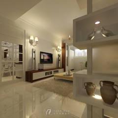 客廳電視牆:  牆面 by 元作空間設計