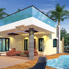 Luxurious Mini Farm House:  Pool by Bhuvith Creations