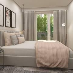 Apartamento em Almada: Quartos  por Mónica Zagalo Interior Design