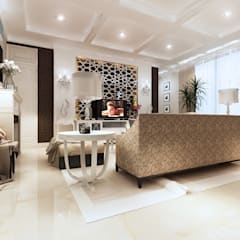 LIVING ROOM: Ruang Keluarga oleh Mitrasasana - Design & Build,