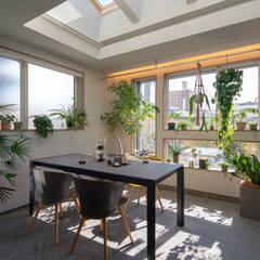 都市における都市のための快適で省エネなパッシブモダン住宅: タイコーアーキテクトが手掛けたサンルームです。,モダン