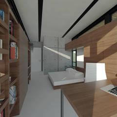 Casa Blackbird: Quartos  por Quatro Fatorial Arquitetura e Urbanismo