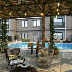 3D Exterior Modeling of Courtyard & Pool Design  By Yantram Architectural Design Studio, London – U.K:  Bars & clubs by Yantram Architectural Design Studio