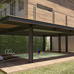 Bungalow anexo a Residencia, Col. Hipódromo, Tijuana, Mex.: Bungalows de estilo  por URBAO Arquitectos, Moderno Hierro/Acero