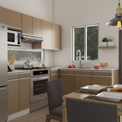 Bungalow anexo a Residencia, Col. Hipódromo, Tijuana, Mex.: Cocinas pequeñas de estilo  por URBAO Arquitectos