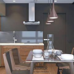 Дизайн трехкомнатной квартиры в современном стиле - 95 кв.м. кухня и гостиная: Встроенные кухни в . Автор – Татьяна Черкашина | My New Interior