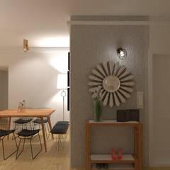 Diseño de Interiores de Living Comedor - Olivos Pasillos, vestíbulos y escaleras escandinavos de Arquimundo 3g - Diseño de Interiores - Ciudad de Buenos Aires Escandinavo Metal