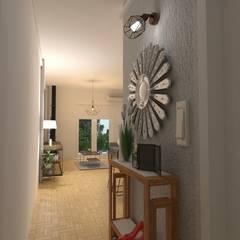 Diseño de Interiores de Living Comedor - Olivos Pasillos, vestíbulos y escaleras escandinavos de Arquimundo 3g - Diseño de Interiores - Ciudad de Buenos Aires Escandinavo Cerámico