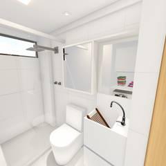 Banheiro/ Espelho/ Armário: Banheiros  por Sônia Beltrão Arquitetura